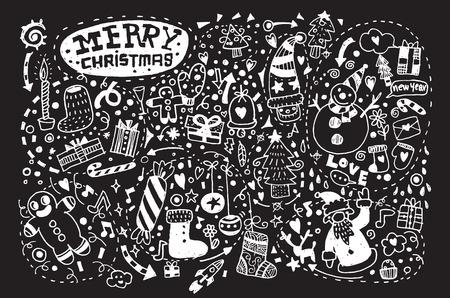 christmas lights background: Hand drawn Christmas icons set doodle,Vector illustration