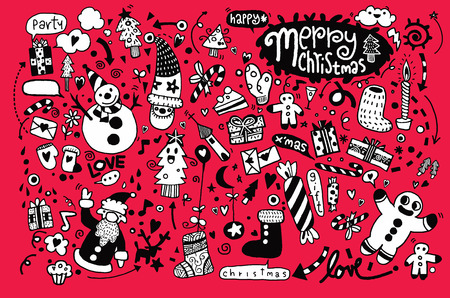 christmas candy: Hand drawn Christmas icons set doodle,Vector illustration