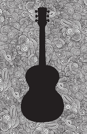 unplugged: Hand drawing Doodle acoustic guitar,Flat Design.Vector illustration