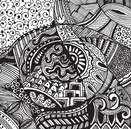 Hand drawing Doodle pattern background .Design Asian, ethnic, zentangle, tribal pattern.vector illustration