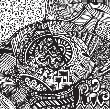 Hand drawing Doodle pattern background .Design Asian, ethnic, zentangle, tribal pattern.vector illustration