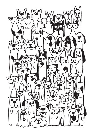 hand drawn cartoon: Hand drawn doodle Funny Dogs and Cat Set, Vector illustration.