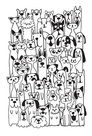 perro caricatura: Mano doodle divertido Perros y gato Conjunto, ilustración vectorial. Vectores