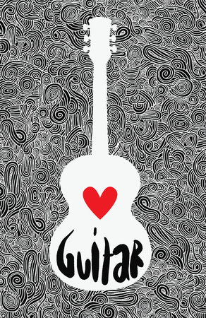 gitara: Strony rysunku doodle na gitarze akustycznej, płaskim Design.Vector Ilustracja