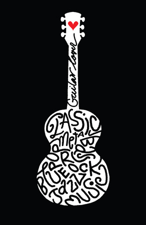 dessin: Dessin Doodle guitare acoustique à la main, plat Design.Vector illustration Illustration