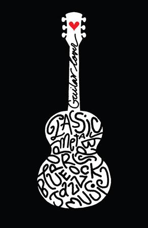guitarra: Dibujo guitarra acústica Doodle mano, plana design.vector ilustración Vectores
