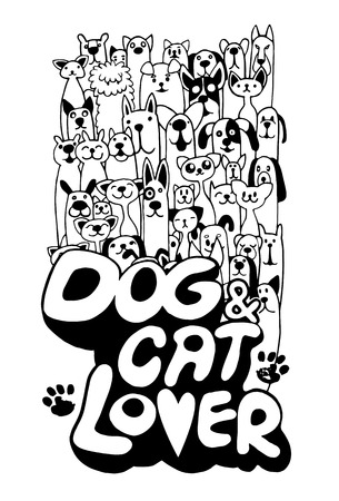 funny dogs: Hand drawn doodle Funny Dogs and Cat Set, Vector illustration.