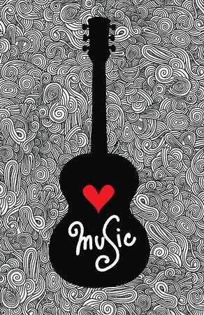 Hand drawing Doodle acoustic guitar,Flat Design.Vector illustration