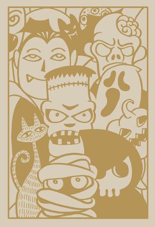 party design: Hand drawn Halloween party poster invitation,Flat Design Vector illustration. Illustration