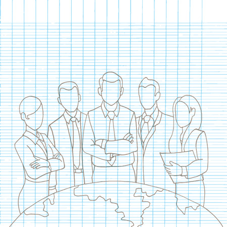ceo: Hand drawing Successful Team Leader. A team of Successful executives led by a great and leader.drawing style Pen on Paper Notebook.Vector illustration.