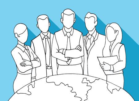 lider: Gráfico de la mano Exitoso Jefe de Equipo. Un equipo de ejecutivos de éxito dirigida por un grande y leader.Vector ilustración.
