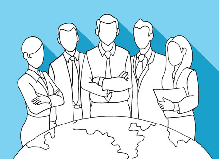 leader: Hand drawing Successful Team Leader. A team of Successful executives led by a great and leader.Vector illustration. Illustration