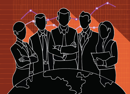 team leader: Hand drawing Successful Team Leader. A team of Successful executives led by a great and leader.Vector illustration. Illustration