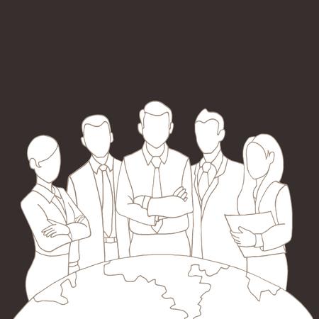 executives: Hand drawing Successful Team Leader. A team of Successful executives led by a great and leader.Vector illustration. Illustration