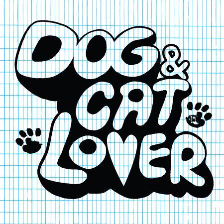 Hand drawing Doodle Dog and Cat  Text ,Vector Illustration on Lined Sketchbook Paper Background,Flat Design Illustration