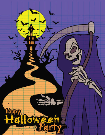 scythe: Hand Drawn of Halloween party poster,invitation with grim reaper with scythe ,Flat Design Vector illustration.