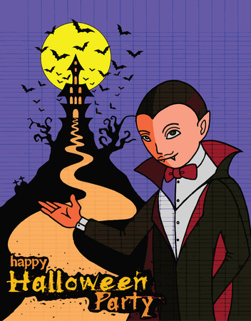 bloodsucking: Hand Drawn of Halloween party poster,invitation with Dracula Illustration