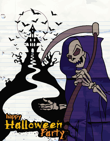 monsters house: Hand Drawn of Halloween party poster,invitation with grim reaper with scythe ,Flat Design Vector illustration.