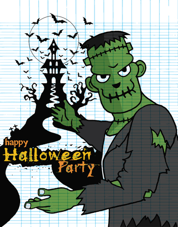 Hand Drawn of Halloween party poster,invitation with Frankenstein ,Flat Design Vector illustration.
