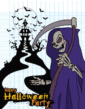 angel cemetery: Hand Drawn of Halloween party poster,invitation with grim reaper with scythe ,Flat Design Vector illustration.