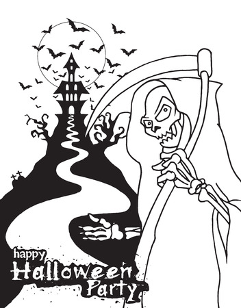 guadaa: Hand Drawn of Halloween party poster,invitation with grim reaper with scythe ,Flat Design Vector illustration.