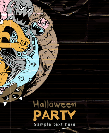 war paint: Halloween Party Design template and place for text.hand-drawn monsters group,Vector illustration