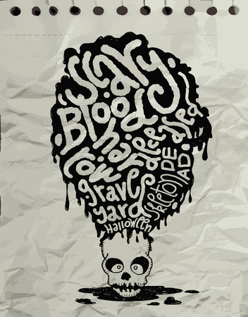 mortal: Hand drawn  Death skeleton head with Halloween words,suitable for Halloween,doodle style.Vector illustration.
