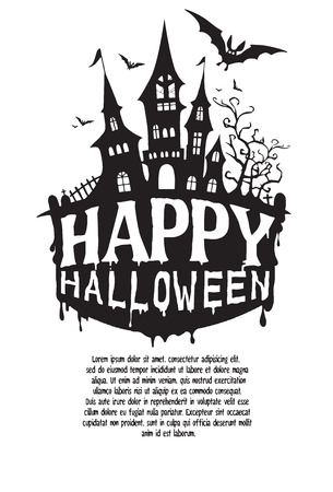 castel: Halloween design template. Spooky landscape with castel,Vector illustration