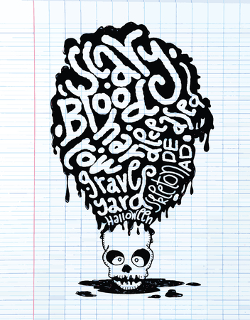 immortal: Hand drawn  Death skeleton head with Halloween words,suitable for Halloween,doodle style.Vector illustration.