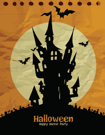 Halloween design template. Spooky landscape with castel,Texture of crumpled paper. Vector illustration. Stock Photo