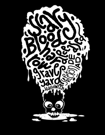 mortal danger: Hand drawn  Death skeleton head with Halloween words,suitable for Halloween,doodle style.Vector illustration.