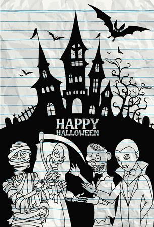 dracula castle: Halloween design template. Spooky landscape with castle Dracula, Mummy, Zombie & Grim reaper,Flat Design vector illustration. Stock Photo