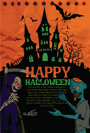 spooky graveyard: Halloween design template. Spooky landscape with castlel, Zombie & Grim reaper. Vector illustration Stock Photo
