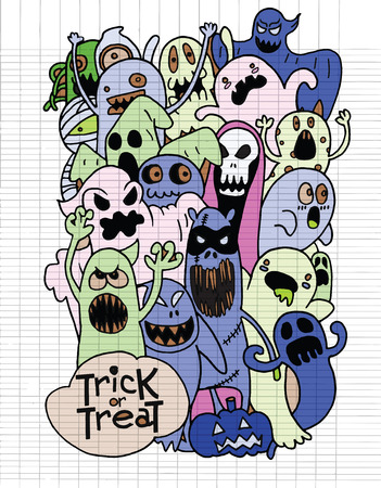monster teeth: Hand Drawn of Halloween monster set,Texture of crumpled paper. Vector illustration.