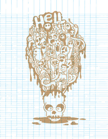 mortal: Hand drawn  Death skeleton head with ghosts, suitable for Halloween,doodle style.Vector illustration. Stock Photo