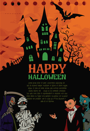 Halloween design template. Spooky landscape with castlel  Dracula, Mummy, Zombie & Grim reaper,Flat Design vector illustration.