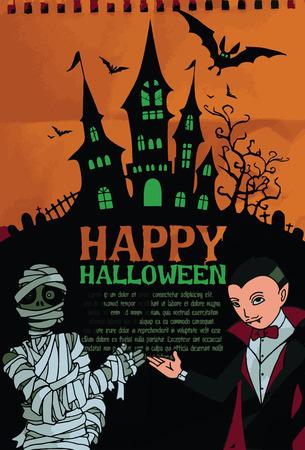 dracula castle: Halloween design template. Spooky landscape with castle, Dracula & Mummy. Vector illustration