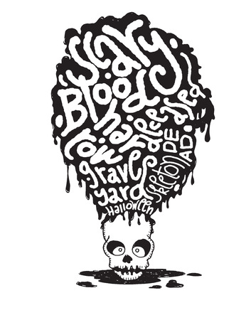 cruel: Hand drawn  Death skeleton head with Halloween words,suitable for Halloween,doodle style.Vector illustration.
