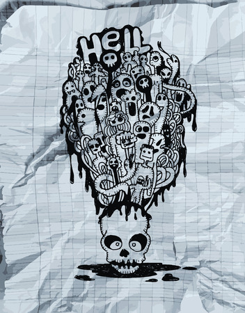 mortal: Hand drawn  Death skeleton head with ghosts, suitable for Halloween,doodle style.Texture of crumpled paper. Vector illustration.. Stock Photo