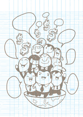 top of the world: Hand drawing Group of Businessmen on top of the world, sketch for your design. Vector illustration