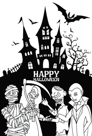 dracula castle: Halloween design template. Spooky landscape with castle Dracula, Mummy, Zombie & Grim reaper,Flat Design vector illustration. Illustration