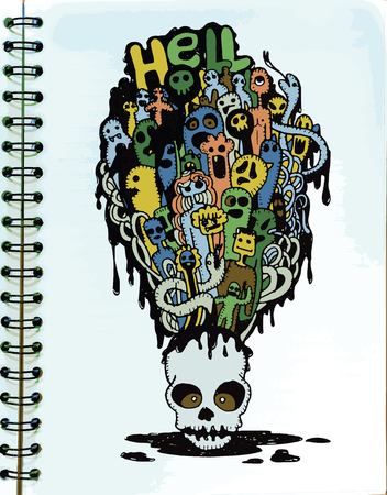 mortal: Hand drawn  Death skeleton head with ghosts, suitable for Halloween,doodle style.Vector illustration. Illustration