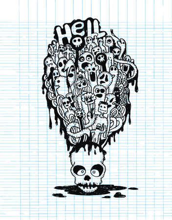 mortal danger: Hand drawn  Death skeleton head with ghosts, suitable for Halloween,doodle style.,Flat Design Vector illustration.