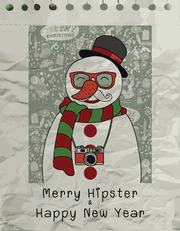christmas concept: Hand drawn Hipster snowman  in sunglasses, camera, mustache ,concept hipster illustration, merry christmas! happy new year,Flat Design Vector illustration. Illustration