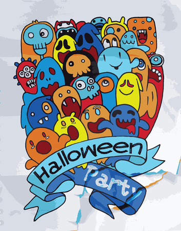 cute ghost: Hand drawing cute ghost design, party card,suitable for Halloween. Vector illustration.