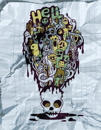 mortal: Hand drawn  Death skeleton head with ghosts, suitable for Halloween,doodle style.Texture of crumpled paper. Vector illustration.. Illustration