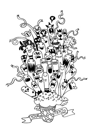 teammate: Vector illustration of Monsters and cute alien friendly, cool, cute hand-drawn monsters group