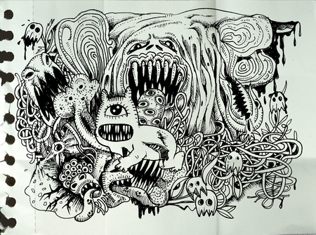 classic monster: Monster drawing.Hand drawn monster with combination lines.Vector illustration. Illustration