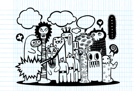 teammate: Hand Drawn Monsters and cute alien friendly cartoon,doodle Style with Speech Bubbles