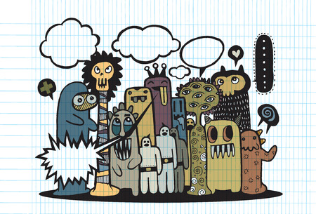 teammate: Hand Drawn Monsters and cute alien friendly cartoon,doodle Style with Speech Bubbles .Vector Collection Illustration